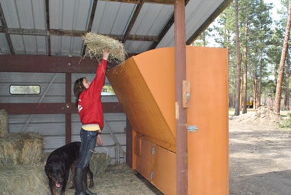 loading hay in the hopper