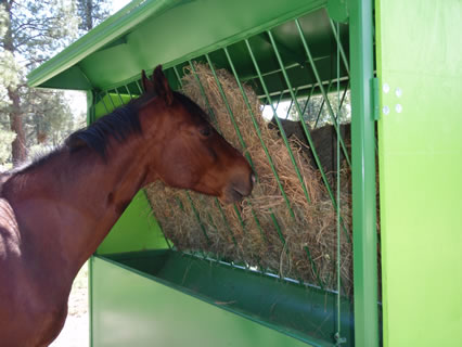 a content and happy horse eating hay from the automated unit
